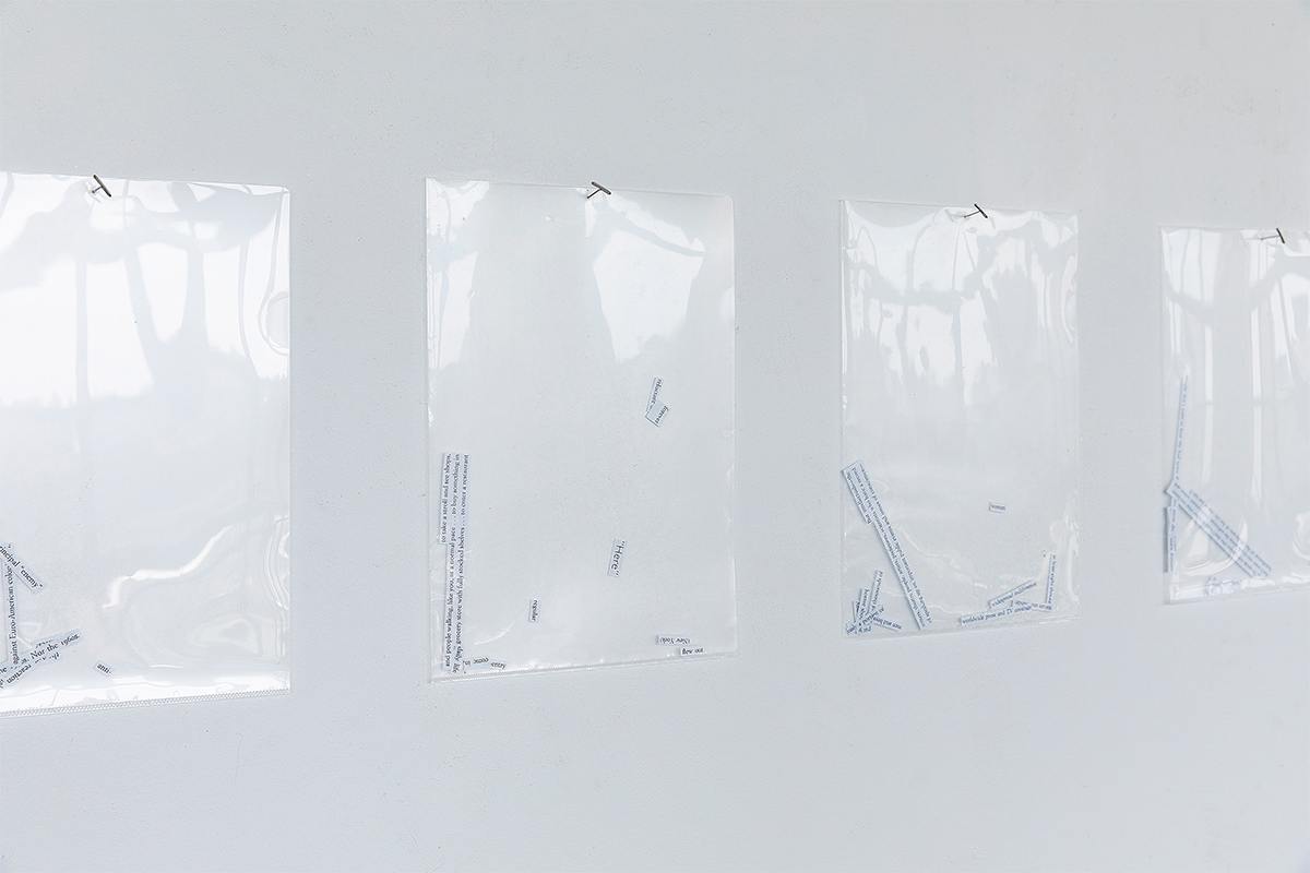 Jennifer Chia-ling Ho, Against Interpretation, 2020. Scrap paper in clear plastic sleeves. 8.5 x 11 inches each. Courtesy of the artist.