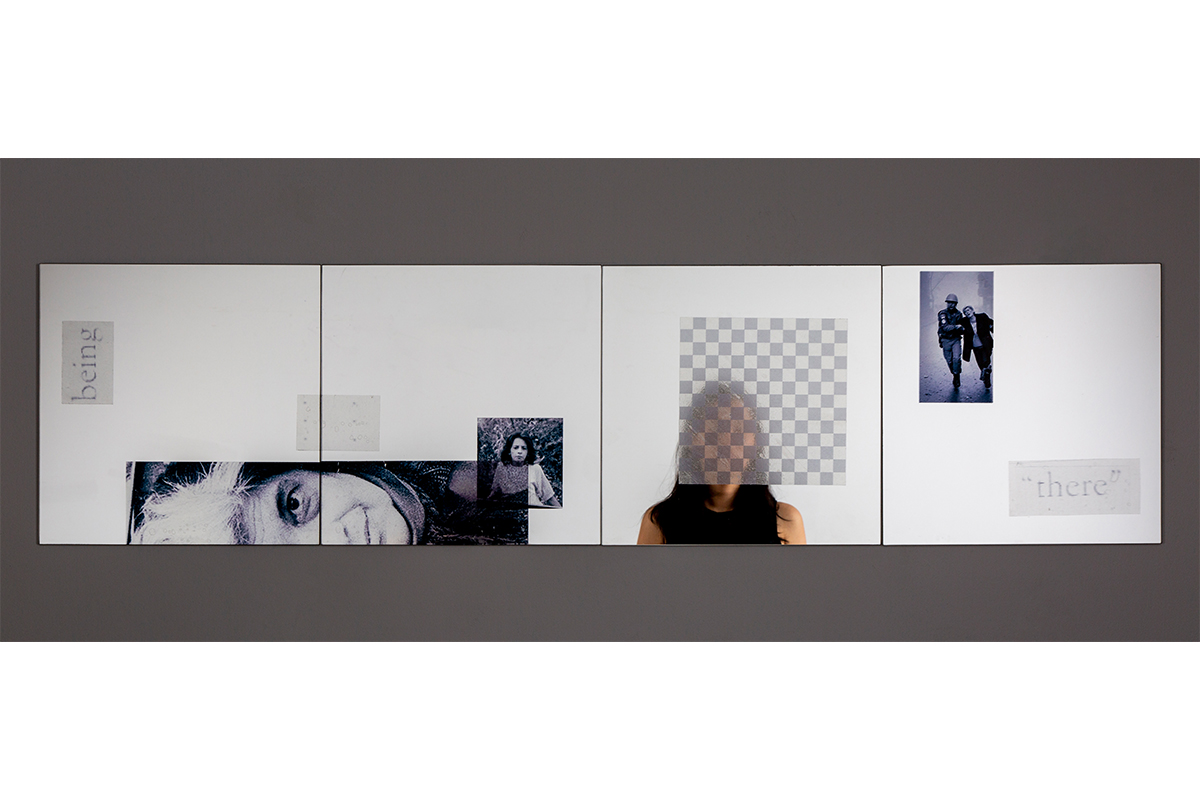 Jennifer Chia-ling Ho, Here and There, 2020. Clear adhesive film on mirrors. 48 x 12 inches. Courtesy of the artist.