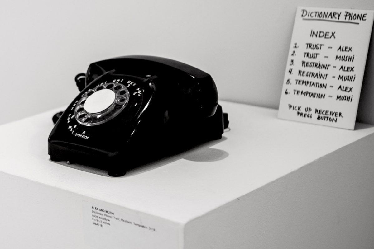 ALEXANDMUSHI, Dictionary Phone: Trust, Restraint, And Temptation. 2018. Interactive Audio Sculpture. 9 X 9 X 5 Inches. Photo Courtesy Of Artists And Modernism Inc.