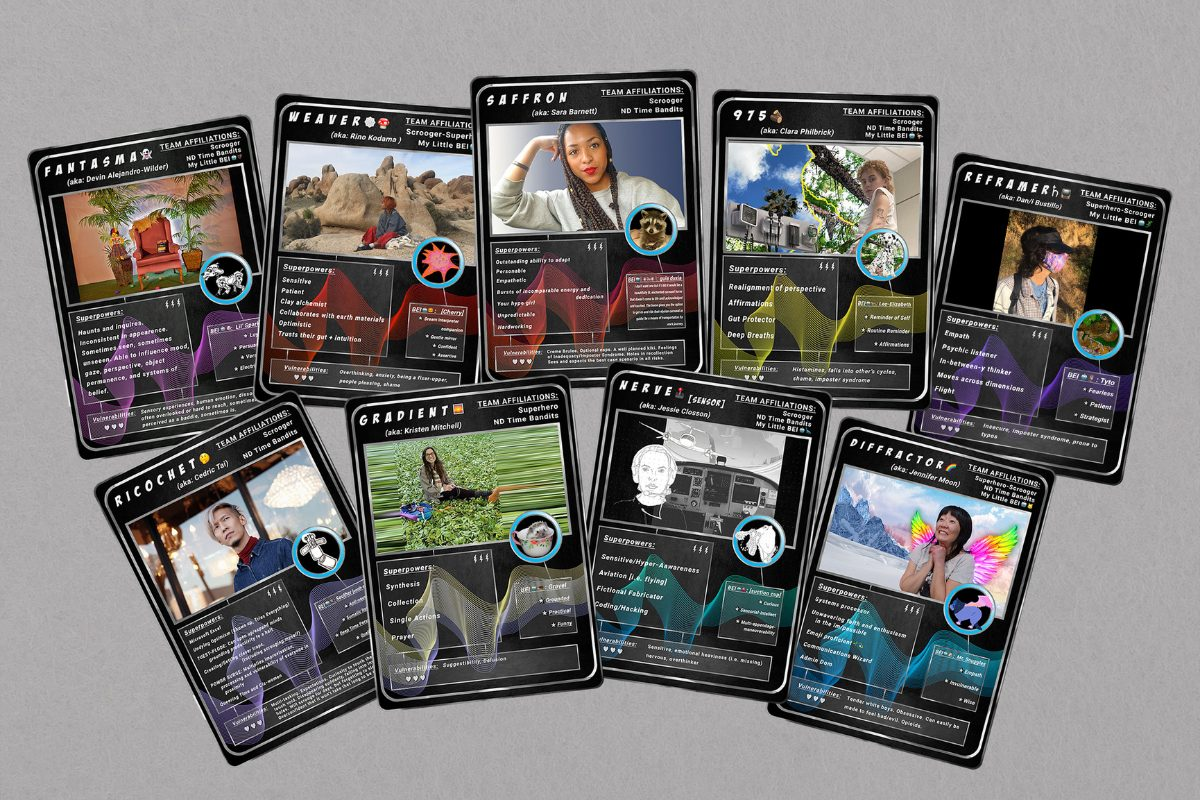 The Revolution Deck: Scroogers and Superheroes player cards, designed by Devin Alejandro-Wilder, inspired by Jessie Closson's Superheroes/Scroogers Trello cards. Each active member of Rev School builds one of these player cards, adding to the expansion of The Revolution Deck, as either a Scrooger or Superhero or a hybrid of both. This spread are the members of the Scrooging for Kids team: Devin Alejandro-Wilder, Sara Barnett, Dan/i Bustillo, Jessie Closson, Rino Kodama, Kristen Mitchell, Jennifer Moon, Clara Philbrick, Cedric Tai.