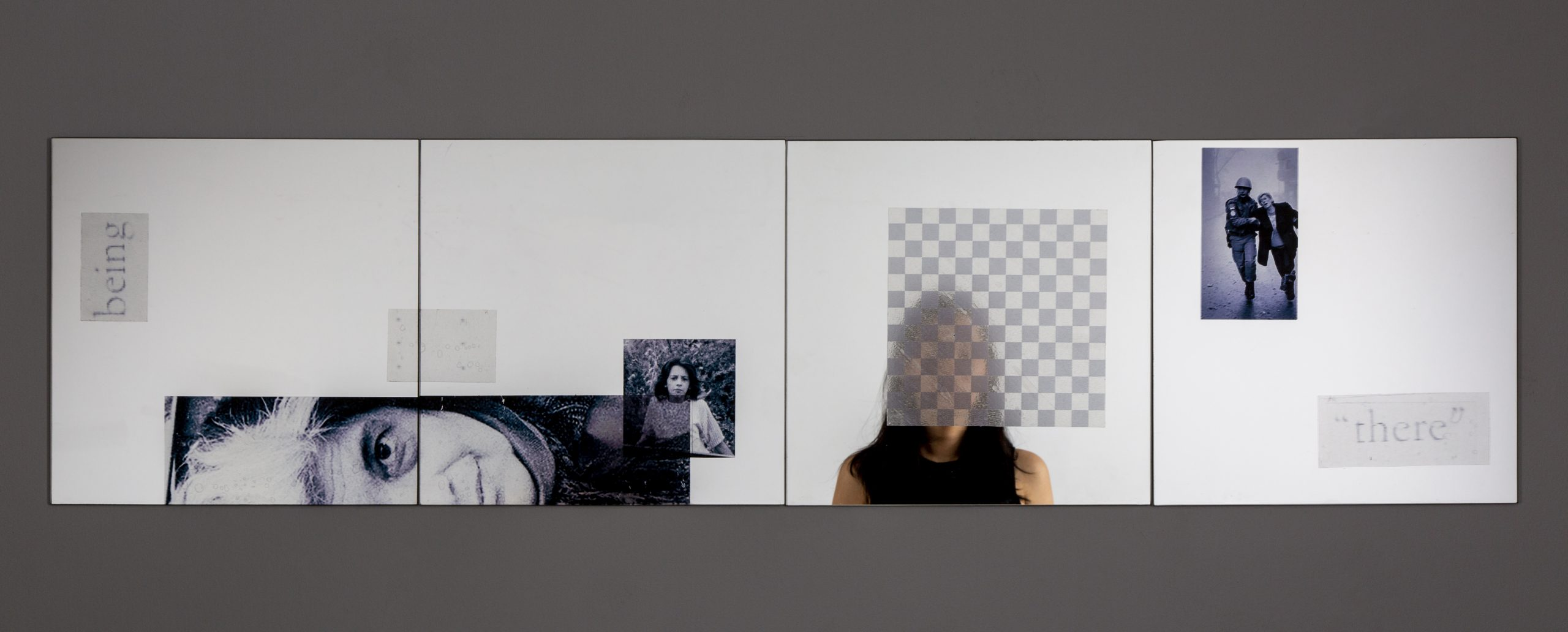 Jennifer Chia-ling Ho (何珈寧), Here And There, 2020. Clear Adhesive Film On Mirrors. 48 X 12 Inches Courtesy Of The Artist.