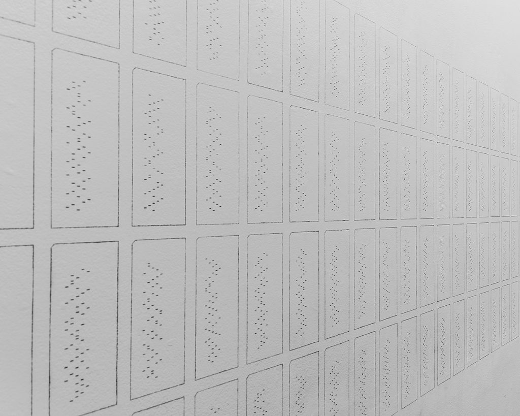 Jennifer Chia-ling Ho (何珈寧), Check the Box, 2021. Plaster, papier mache, mesh wire, file cabinet, charcoal, pencil, hanging organizer file folder. 11 x 7 x 3 feet. Courtesy of the artist.