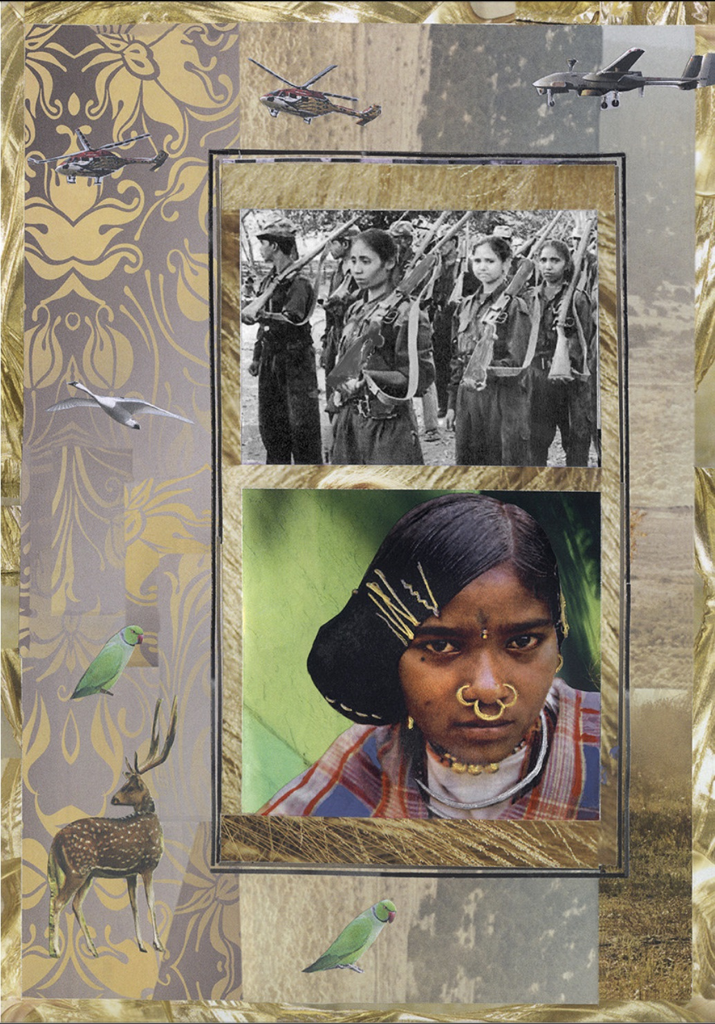Ameeta Nanji, Dongria Girl, Delhi Love Song series, 2017. Recycled Print Media Paper. 17 ¼ x 21 ¼ inches. Courtesy of the artist.