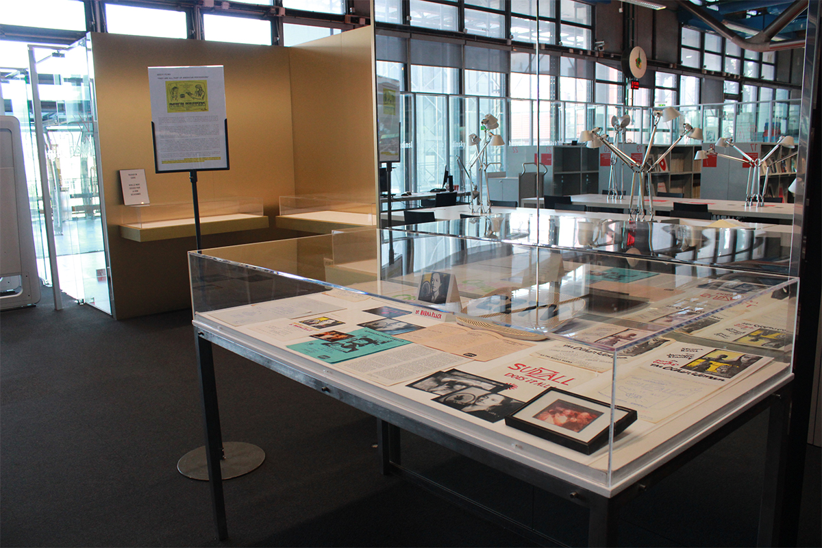 Installation view of the exhibition of a selection of the archives of EZTV from the collections of the ONE National Gay & Lesbian Archives and EZTV, preserved at the 18th Street Arts Center (Santa Monica, CA). The archives were gathered by Kate Johnson and Michael Massuci. July 1st– July 30th 2019, Bibliothèque Kandinsky, Centre Georges Pompidou, Paris, France.