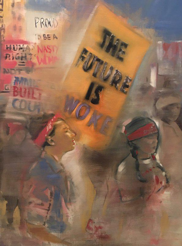 Gregg Chadwick, The Future Is Woke, Idea of America series 2017. Oil on linen. 40 x 30 inches. Courtesy of the artist.