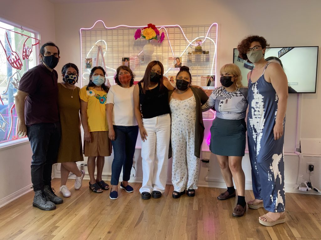 Market Exchange vendors and artists at their installation Manos a la Obra at the Pico Pop-Up, 2021.