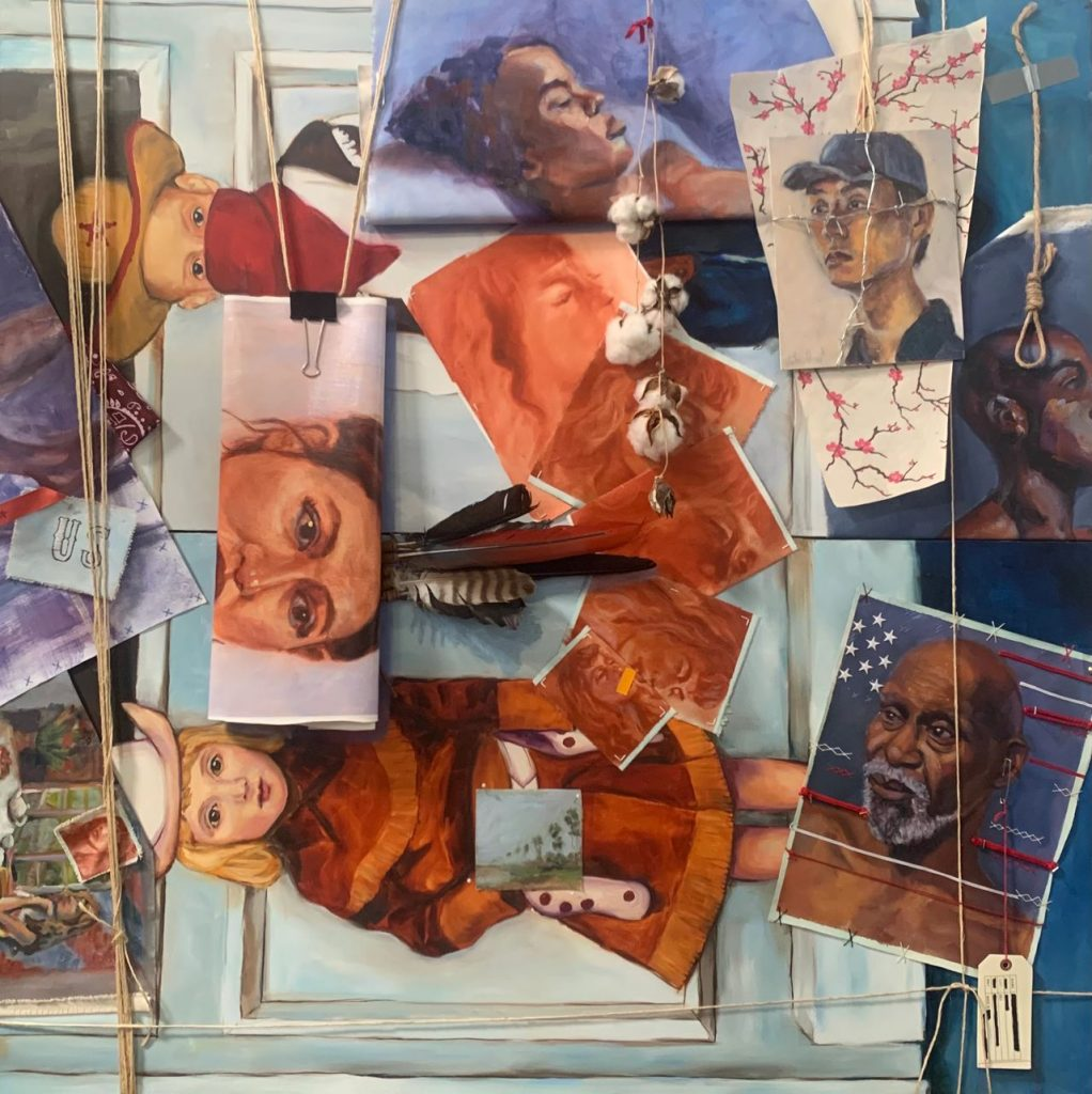 """M Susan Broussard, US History (forgotten), 2020. Oil on Canvas with mixed media. 48"""" x 48"""". Courtesy of the artist."""