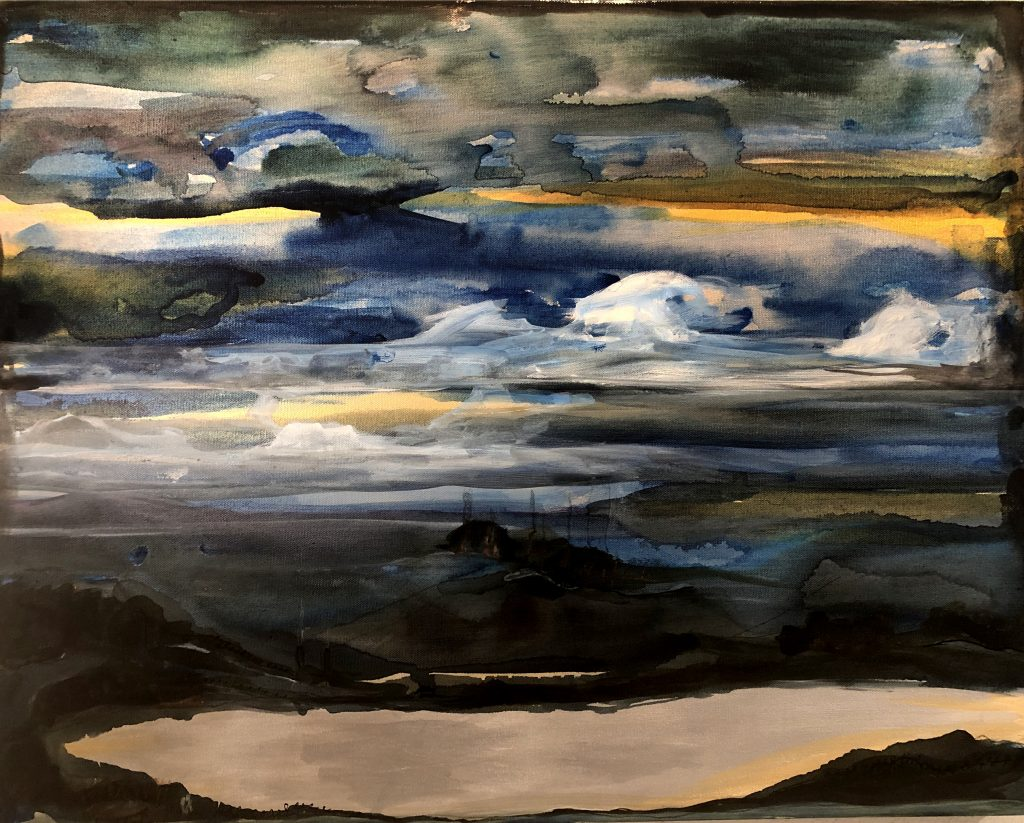 """Enid Baxter Ryce, Atmosphere 1, 2021. Oil, acrylic, and handmade ink on canvas. 3 panels of 24"""" x 30"""" each. Courtesy of the artist."""