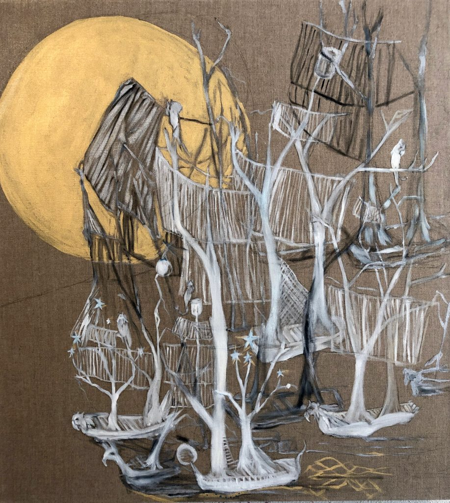 """Enid Baxter Ryce, Ghost Ship 2, 2019. Oil, acrylic, and handmade ink on linen. 30"""" x 35"""". Courtesy of the artist."""