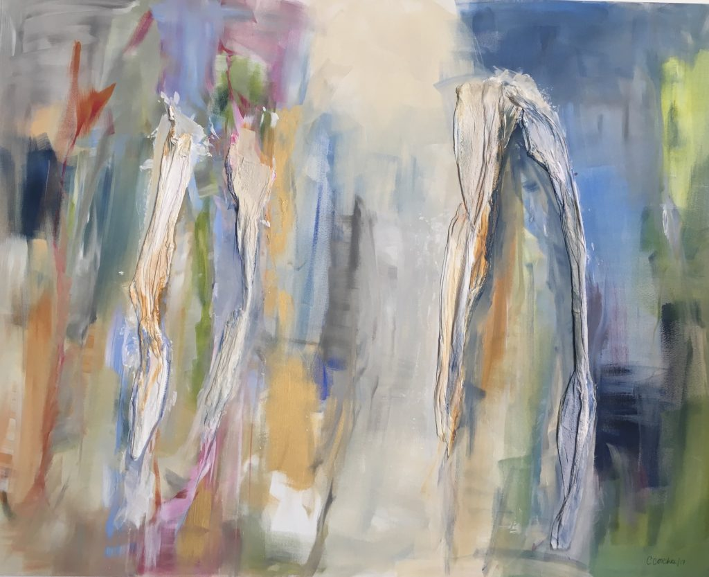 Claudia Concha, Del Muro, 2016. Mixed media on canvas. 48x60 inches. Courtesy of the artist.