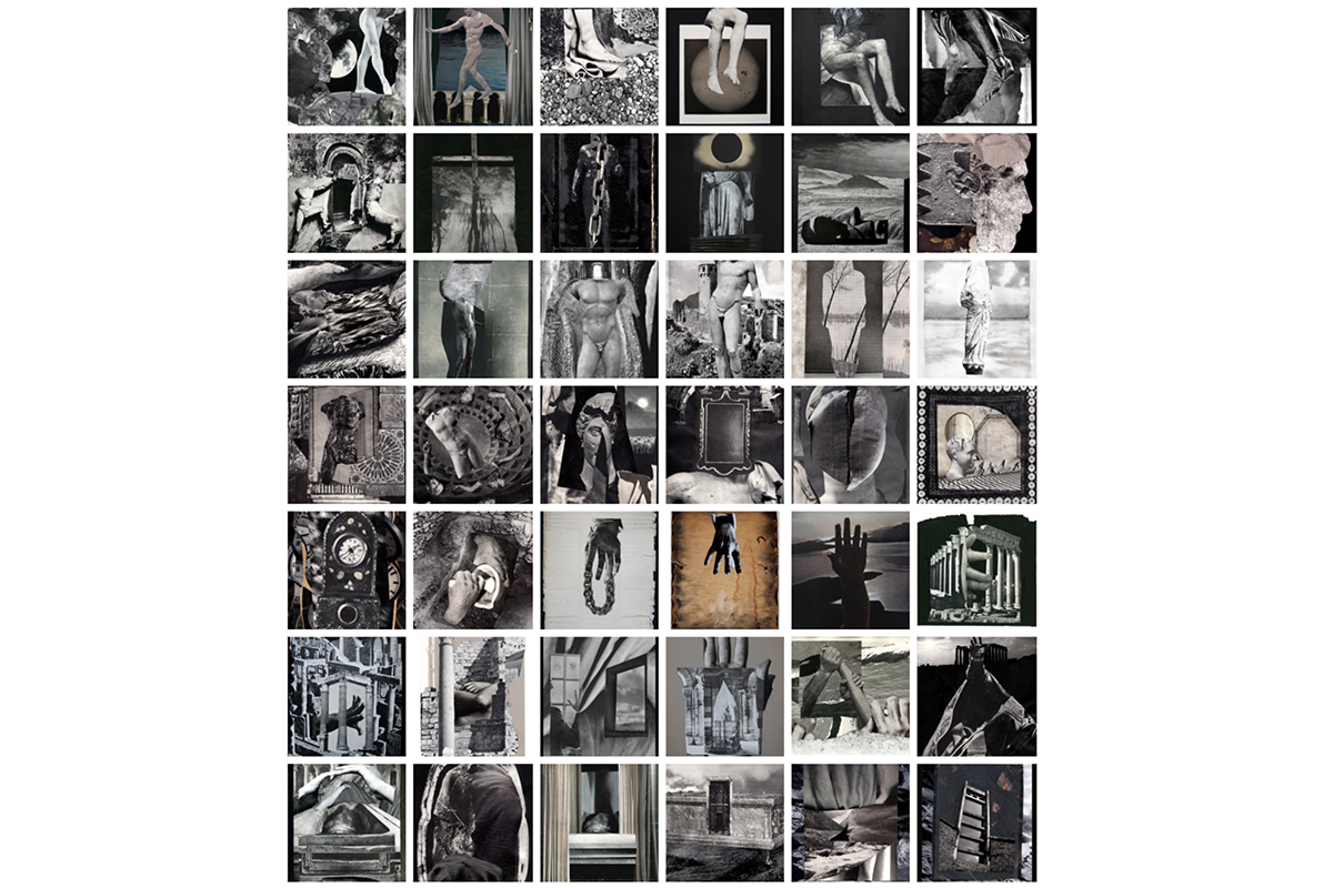 Diego Torres, Wall Set of Collages in Black and White [in thumbnail form], 2009-2019. Dimensions variable. Mixed-media collage. Courtesy of the artist.