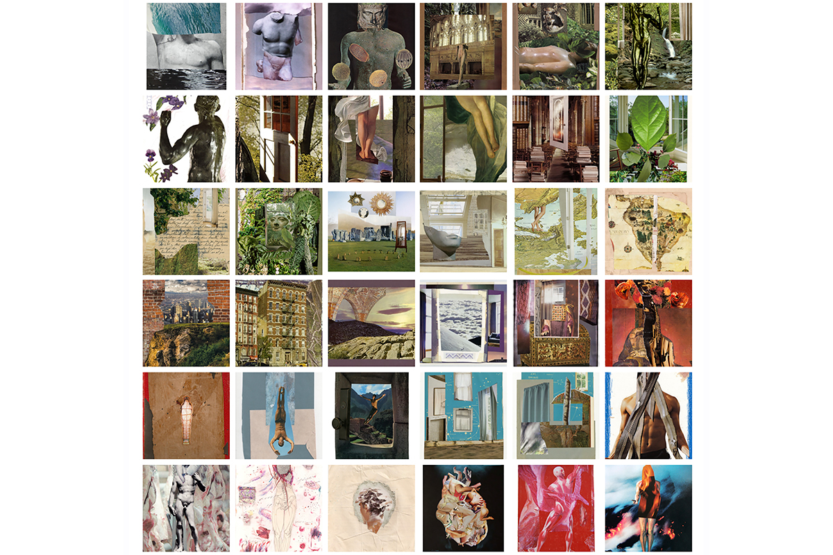 Diego Torres, Wall Set of Collages in Color [in thumbnail form], 2009-2019. Dimensions variable. Mixed-media collage. Courtesy of the artist.