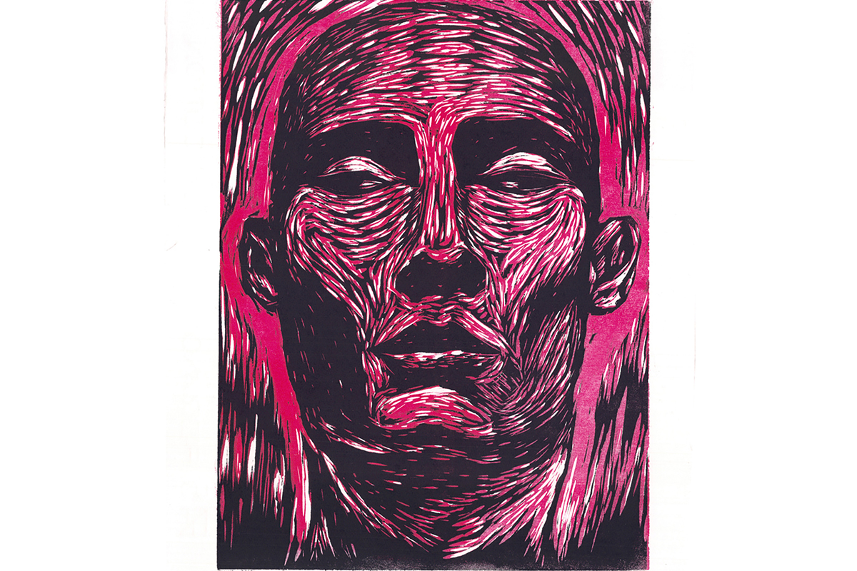 """Diego Torres, Flayed, 2010. 11"""" x 14"""". Woodcut. Courtesy of the artist."""